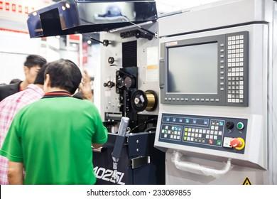 BANGKOK - NOVEMBER 22 :The controler machine box display at  METALEX 2014 on Nov 22,2014 in BITEC ,Bangkok, Thailand.