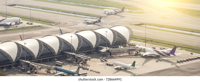 BANGKOK - November 23, 2016 in Bangkok, Thailand. Suvarnabhumi Airport is one of two international airports serving Bangkok, Thailand. This airport is the third largest airport building in the world.