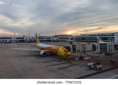 BANGKOK -November 27 : Don Mueang International Airport on November 27,2017 in Thailand.Nok Air is one of airlines in Don Mueang International Airport Bangkok, Thailand