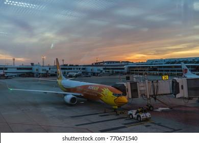BANGKOK -November 27 : Don Mueang International Airport on November 27,2017 in Thailand.Nok Air is one of airlines in Don Mueang International Airport Bangkok, Thailand