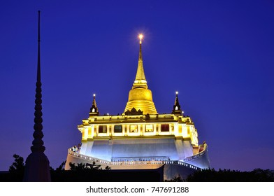 BANGKOK - NOVEMBER 3, 2017: Golden Mount is a Buddhist temple that enshrining a relic of the Buddha and it stands on the artificial hill that is 80 meters tall.