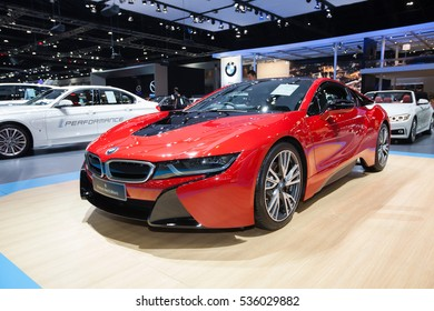 BANGKOK - November 30: BMW i8 Protonic Red Edition car on display at Motor Expo 2016 on November 30, 2016 in Bangkok, Thailand.