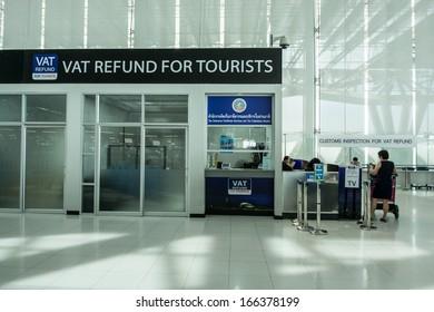 BANGKOK -NOVEMBER 30:View of Vat refund desk in Bangkok Suvarnabhumi International Airport on November 30, 2013 in Bangkok, Thailand.This airport is handling about 45 million passengers annually.