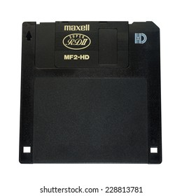 BANGKOK - NOVEMBER 4: Maxell brand 1.44 inches floppy disk was very popular in 90's computer storage device, isolated on white background, was taken in Bangkok, on November 4, 2014.