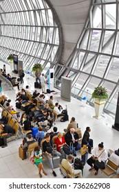 BANGKOK, Oct. 11, 2017: Passengers are waiting for their flight's boarding at Bangkok's Suvarnabhumi Airport.