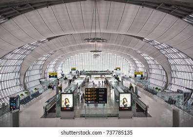 BANGKOK, Oct. 11, 2017: A view over departure gates of the Thai capital's main Airport Suvarnabhumi.