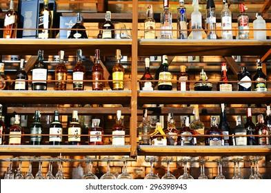 BANGKOK - OCT 17 : Bottles of spirits and liquor at the bar wine 79 on oct 17,2014 in Asiatique The Riverfront ,bangkok