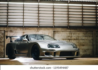 """Bangkok, Oct 2018 : 90's Racing car """" Toyota Supra JZA80 """" with GT300 part. 7xxhp with 2JZ-GTE engine by Bank ChapterOne."""