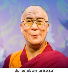 BANGKOK - OCT 21: A waxwork of Dalai Lama on display at Madame Tussauds on Oct 21, 2012 in Bangkok, Thailand. Madame Tussauds' newest branch hosts waxworks of numerous stars and celebrities.