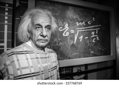 BANGKOK - OCT 28: A waxwork of Albert Einstein on display at Madame Tussauds on October 28, 2015 in Bangkok, Thailand. Madame Tussauds' newest branch hosts waxworks of numerous stars and celebrities.