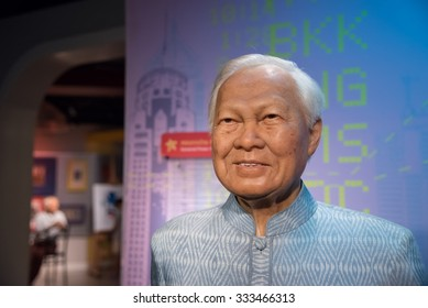 BANGKOK - OCT 28: A waxwork of General Prem Tinsulanonda on display at Madame Tussauds on October 28, 2015 in Bangkok, Thailand. Madame Tussauds' newest branch hosts waxworks of numerous celebrities.