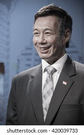 BANGKOK - OCT 28: A waxwork of Lee Hsien Loong on display at Madame Tussauds on October 28, 2015 in Bangkok, Thailand. Madame Tussauds' newest branch hosts waxworks of numerous stars and celebrities.