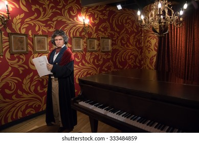 BANGKOK - OCT 28: A waxwork of Ludwig van Beethoven on display at Madame Tussauds on October 28, 2015 in Bangkok, Thailand. Madame Tussauds' newest branch hosts waxworks of numerous celebrities.
