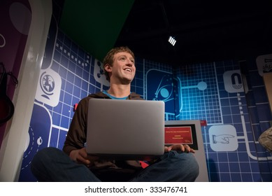 BANGKOK - OCT 28: A waxwork of Mark Zuckerberg on display at Madame Tussauds on October 28, 2015 in Bangkok, Thailand. Madame Tussauds' newest branch hosts waxworks of numerous stars and celebrities.