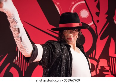 BANGKOK - OCT 28: A waxwork of Michael Jackson on display at Madame Tussauds on October 28, 2015 in Bangkok, Thailand. Madame Tussauds' newest branch hosts waxworks of numerous stars and celebrities.