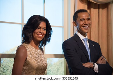 BANGKOK - OCT 28: A waxwork of Michelle and Barack Obama on display at Madame Tussauds on October 28, 2015 in Bangkok, Thailand. Madame Tussauds' newest branch hosts waxworks of numerous celebrities.