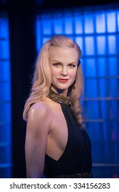 BANGKOK - OCT 28: A waxwork of Nicole Kidman on display at Madame Tussauds on October 28, 2015 in Bangkok, Thailand. Madame Tussauds' newest branch hosts waxworks of numerous stars and celebrities.