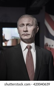 BANGKOK - OCT 28: A waxwork of Vladimir Putin on display at Madame Tussauds on October 28, 2015 in Bangkok, Thailand. Madame Tussauds' newest branch hosts waxworks of numerous stars and celebrities.