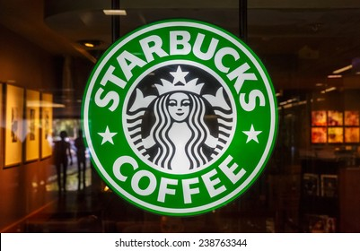 BANGKOK - OCT 3 Starbucks logo on Oct 3, 2014 in Queen Sirikit National Convention Center, Bangkok. It is an US global coffee company, the largest coffeehouse company in the world.