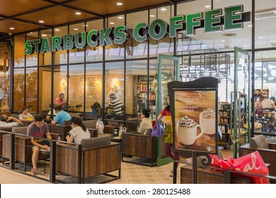 BANGKOK - OCT 5: Starbucks coffee shop at Central Salaya, Bangkok on Oct 5, 2014. Starbucks is the world's largest coffee house with over 20,000 stores in 61 countries.