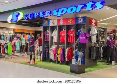 BANGKOK - OCT 5: Super Sports store at Central Salaya, Bangkok on Oct 5, 2014. It is the largest sporting goods reseller in Thailand.