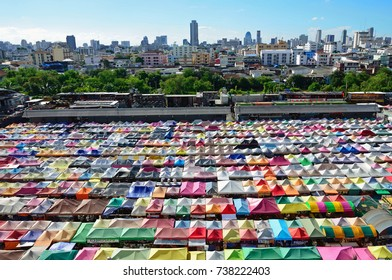 BANGKOK – OCTOBER 20, 2017: Rod Fai Market is an open-air bazaar in Bangkok and it offers variety of vintage items, collectibles and souvenirs.
