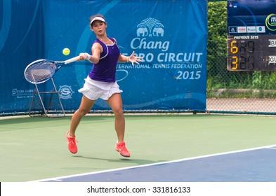 BANGKOK, OCTOBER 21 : Gu mulya of India action in CHANG ITF PRO CIRCUIT 2015 at Rama Gardens Hotel on October 21, 2015 in Bangkok Thailand. she loss in this match