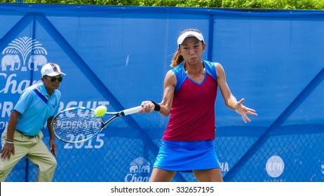 BANGKOK - OCTOBER 23 : Jia-JIng Lu of China in Chang ITF (International Tennis Federation) Pro Circuit 2015 at Rama Gardens Hotel on October 23, 2015 in Bankok ,Thailand.