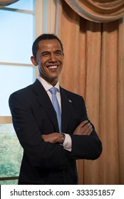BANGKOK - OCTOBER 28: A waxwork of Barack Obama on display at Madame Tussauds on October 28, 2015 in Bangkok, Thailand. Madame Tussauds' newest branch hosts waxworks of numerous stars and celebrities.