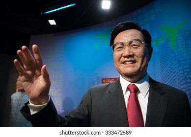 BANGKOK - OCTOBER 28: A waxwork of Hu Jintao on display at Madame Tussauds on October 28, 2015 in Bangkok, Thailand. Madame Tussauds' newest branch hosts waxworks of numerous stars and celebrities.