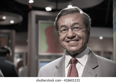 BANGKOK - OCTOBER 28: A waxwork of Mahathir bin Mohamad on display at Madame Tussauds on October 28, 2015 in Bangkok, Thailand.