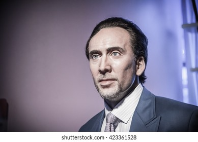 BANGKOK - OCTOBER 28: A waxwork of Nicolas Cage on display at Madame Tussauds on October 28, 2015 in Bangkok, Thailand. Madame Tussauds' newest branch hosts waxworks of numerous stars and celebrities.
