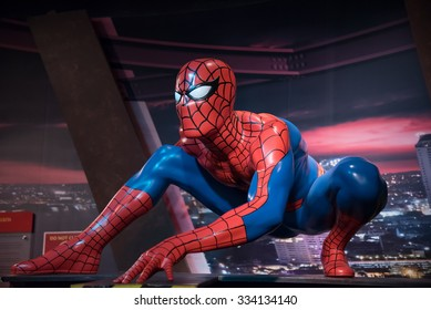 BANGKOK - OCTOBER 28: A waxwork of Spider-Man on display at Madame Tussauds on October 28, 2015 in Bangkok, Thailand. Madame Tussauds' newest branch hosts waxworks of numerous stars and celebrities.