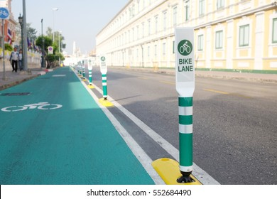 Bangkok old town bicycle lane. Thailand. Bike lanes or cycle lanes are types of bikeways (cycleways) with lanes on the roadway for cyclists only.