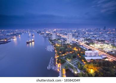 Bangkok Panorama with Chao Phraya River (Twilight)