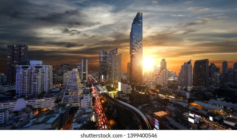 Bangkok panorama city view on sunset from rooftop in business district at twilight