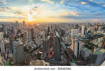 Bangkok panorama, cityscape sunset view