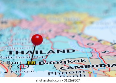 Bangkok pinned on a map of Asia