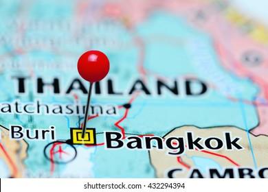 Bangkok pinned on a map of Thailand