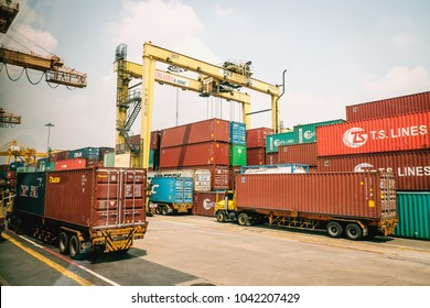BANGKOK PORT, KHLONG TOEI, BANGKOK/THAILAND, FEB 28 2018: There are move an imported goods from a port, which is store in warehouse at Samut Prakan for distribution.
