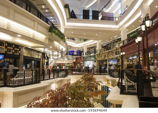 Bangkok, Promerde Shopping Mall, 22 January 2017, people are shopping around in shopping mall for New Year Festival.