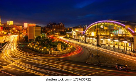 Bangkok Railway Station or Hua Lamphong Train Station, Ancient architecture and famous classic building landmark in Bangkok city of Thailand with tuk tuk taxi and beautiful night light
