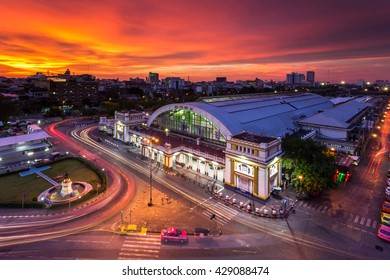 Bangkok Railway Station (Hua Lamphong Railway Station,MRT) in sunset Bangkok, Thailand.