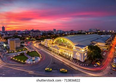 Bangkok Railway Station(Hua Lamphong Railway Station,MRT) at sunset Bangkok,Thailand.