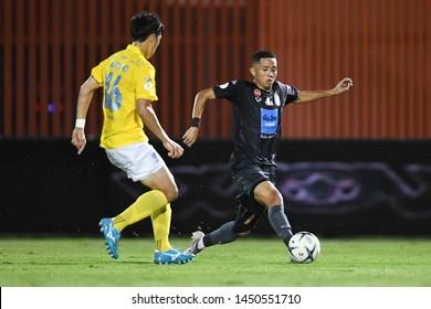 BANGKOK RATCHABURI-JULY 6:Bodin Phala of Port Fc in action during Thai League 2019 between Port Fc and Ratchaburi Mitr Phol F.C. at Mitr Phol Stadium on July 6,2019 in Ratchaburi Thailand