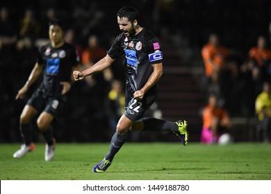 BANGKOK RATCHABURI-JULY 6:David Rochela of Port Fc celebrates after scoring during Thai League 2019 between Port Fc and Ratchaburi Mitr Phol F.C. at Mitr Phol Stadium on July 6,2019 in Ratchaburi