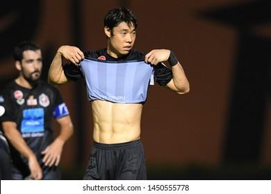 BANGKOK RATCHABURI-JULY 6:KO SEUL KI of Port Fc in action during Thai League 2019 between Port Fc and Ratchaburi Mitr Phol F.C. at Mitr Phol Stadium on July 6,2019 in Ratchaburi Thailand