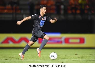 BANGKOK RATCHABURI-JULY 6:Nitipong Selanon  of Port Fc in action during Thai League 2019 between Port Fc and Ratchaburi Mitr Phol F.C. at Mitr Phol Stadium on July 6,2019 in Ratchaburi Thailand