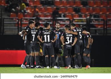 BANGKOK RATCHABURI-JULY 6:Players of Port Fc in action during Thai League 2019 between Port Fc and Ratchaburi Mitr Phol F.C. at Mitr Phol Stadium on July 6,2019 in Ratchaburi Thailand