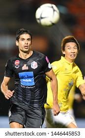 BANGKOK RATCHABURI-JULY 6:SSergio Suarez of Port Fc in action during Thai League 2019 between Port Fc and Ratchaburi Mitr Phol F.C. at Mitr Phol Stadium on July 6,2019 in Ratchaburi Thailand